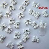 amazon com nail art 3d 120 resin mix small bows rhinestone for