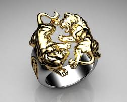 unique mens rings unique mens ring lion ring sterling silver and gold with white