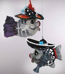 classy halloween online store of home decor mariachi and catrina kissing fish ornaments katherine s collection