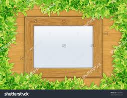 wooden leaves wall wooden photo frame on wooden wall stock photo 81557566