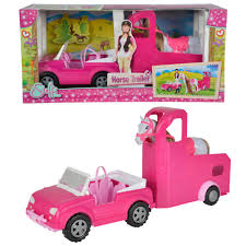 pink toy jeep simba toys steffi love jeep and horse trailer ebay