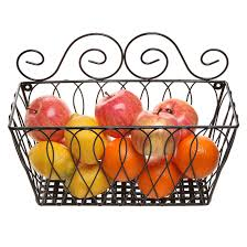 wall mounted decorative scrollwork design black metal wire fruit