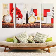 Vase Home Decor 3pcs Red Vase Modern Unframed Canvas Painting Decorative Wall