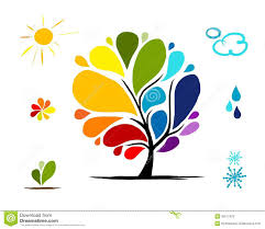 rainbow tree with weather signs for your design stock photos