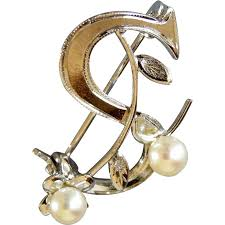 monogram letter s vintage sterling and pearls monogram brooch letter s from