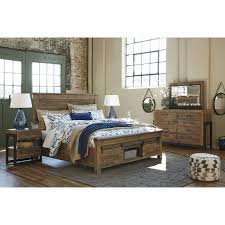 California King Bed Frame With Drawers California King Panel Storage Bed With Barn Doors By Signature