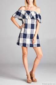 off the shoulder ruffle dress blue u0026 white