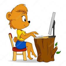 imagenes animadas oso mujer de dibujos animados lindo oso escribir en computadora vector