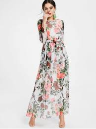 summer maxi dresses floral print sleeve belted maxi dress white maxi dresses xs