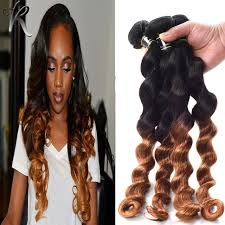 ombre hair weave african american loose curly wave ombre brazilian virgin hair extensions 4pcs black