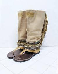 emonk ibiza custom made high boot boho sandals in beige size 41