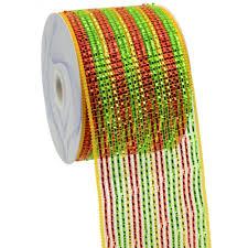 wide mesh ribbon 4 poly deco mesh ribbon deluxe wide foil lime gold stripe