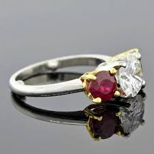 ruby and engagement rings contemporary ruby 3 engagement ring for sale at 1stdibs