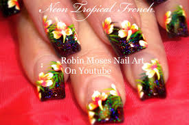 tropical flower nails summer neon pink hibiscus nail art
