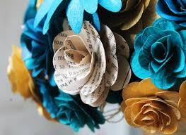 teal flowers teal and gold wedding bouquet made of wood and paper flowers