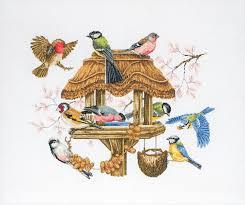 anchor maia cross stitch kit bird table 16ct apc942 readicut co