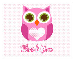 owl baby shower pink baby shower thank you cards