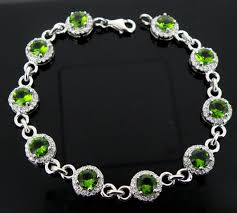 stone silver bracelet images 925 silver bracelets set with cz green round stone from china png