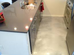 acid stained concrete floor in kitchen small space with cool gray
