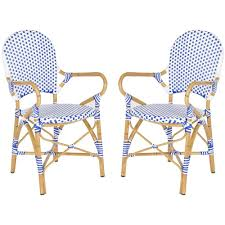 Blue And White Dining Chairs by Safavieh Hooper Blue U0026 White Patio Dining Chair 2 Pack Fox5209a