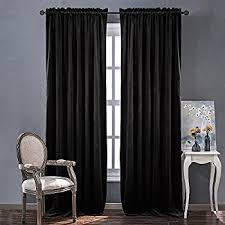 Black Curtains For Bedroom Amazon Com Absolute Zero 11718050x084bk Velvet Blackout Home