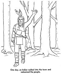 native american welcoming people on native american day coloring