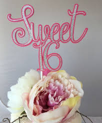 sweet 16 cake topper sweet 16 cake topper birthday cake topper pink backing with