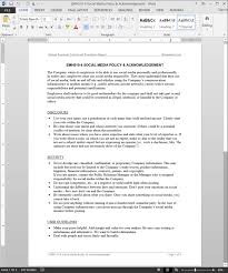 employee social media policy u0026 acknowledgement template emh510 4