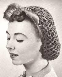 vintage crochet snood hairnet hair net fishnet pattern crochet