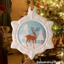belleek reindeer snowflake ornament belleek