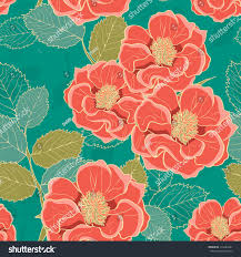 floral wallpaper handdrawn flowers retro colored stock vector