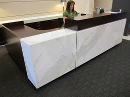 Gray Reception Desk Calcutta Reception Desk Commercial Custom Stone Fabrication