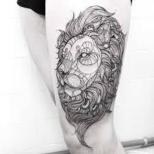 tattoo geometric outline outline ink geometric lion face tattoo on thigh tattooshunter com