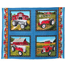 Vintage Ford Truck Fabric - tractors denim background pillow panel fabric