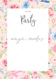 painted flowers party invitation blank watercolor flower party