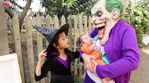 frozen elsa vs spiderman joker kidnap baby but police arrest