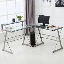 Corner Laptop Desks For Home L Shape Corner Computer Desk Pc Glass Laptop Table Workstation