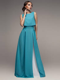 maxi dress turquoise white evening dress with pleats beautiful