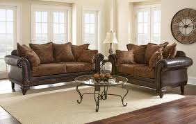 Buy Living Room Set Myco Furniture Saville Classic Brown Leather Fabric Living Room
