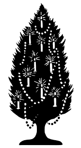 old fashioned christmas tree tree decorated with candles black