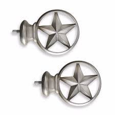 Nickel And Bronze Decorative Curtain by Set Of 2 Brushed Nickel Texas Star Design Decorative Curtain Rod