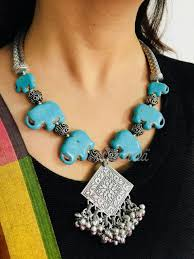 turquoise necklace sets images Turquoise blue elephant antique silver tone necklace set at 3550 jpeg