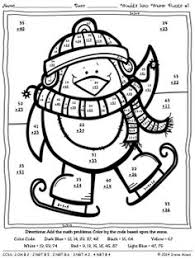 addition color by number math worksheets math pinterest