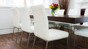 modern dining chair leather in white brushed metal legs