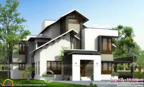 slanting roof mix home plan kerala home design and floor plans