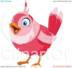 clipart of a cartoon pink bird singing royalty free vector