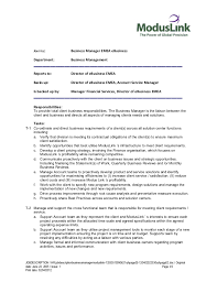 Sample Resume For Teenagers First Job by Job Description Business Manager Moduslink