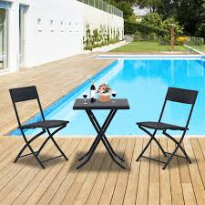 Cheap Patio Table And Chairs by Outsunny 3pcs Rattan Coffee Set Folding Garden Bistro Wicker Chair