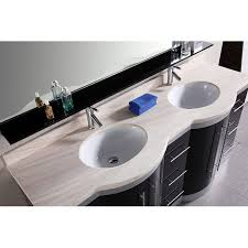 Countertop Bathroom Sinks Design Element Jade Double Integrated Glass Drop In Sink And