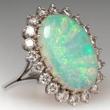crystal opal rings images Vintage opal cocktail ring diamond halo 18k white gold jpg